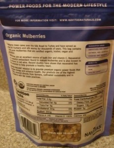 Navitas Naturals Mulberry Power - back of package