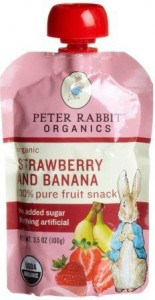 Peter Rabbit Organics, Organic Strawberry and Banana 100% Pure Fruit Snack, 3.5-Ounce Pouch
