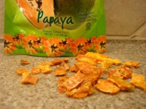 Crunchy 'N' Yummy Organic Freeze Dried Papaya Fruit Snacks up close