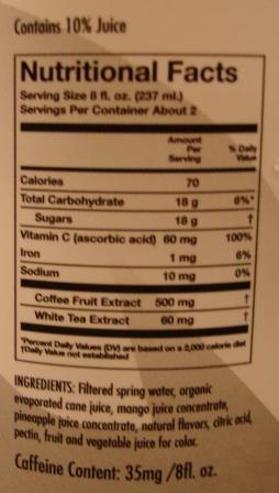 Bai Mango Kauai - Antioxidant Energy Drink Nutrition Facts