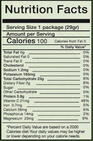 Crunchy N Yummy Pineapple Nutrition Facts