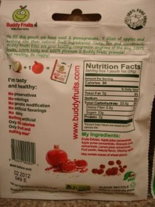 Buddy Fruits Pure Fruit Bites Pomegranate and Acai back of pouch