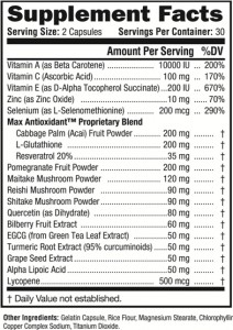 Nature's Daily Defense Nutrition Facts