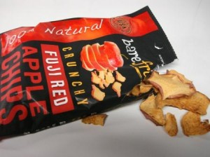 Bare Fruit Fuji Red Apple Chips out of bag
