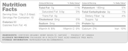 Hemp Seeds Nutritional Info from Navitas Naturals