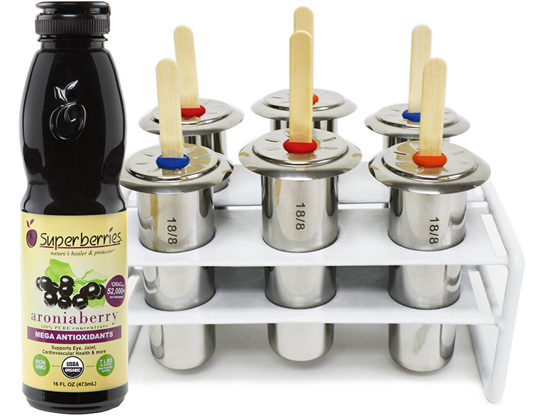 Superberries Bottle of Concentrate and Stainless Steel Popsicle 6 Piece Mold and Rack Set
