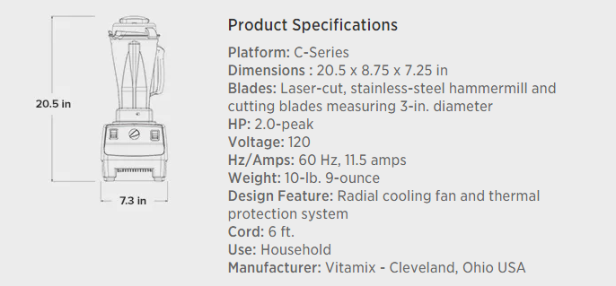 Vitamix Professional Series 500 Blender Brushed Stainless Finish Product Specifications