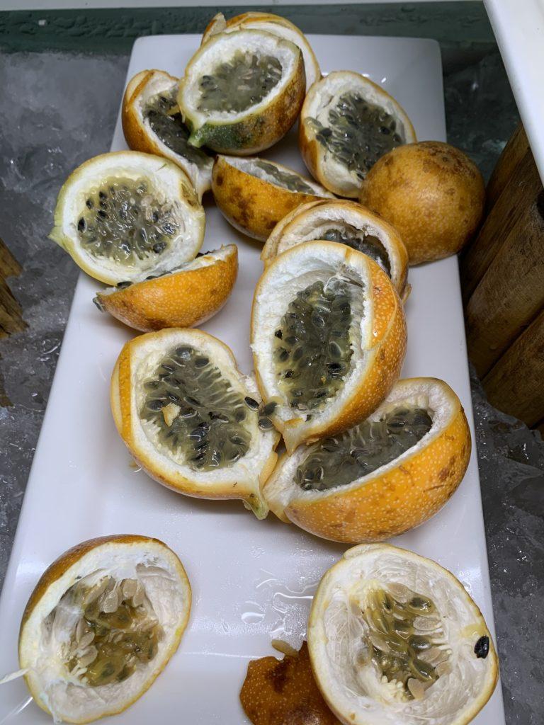 Passiflora edulis passion fruit cut up sliced Mahekal Beach Resort Playa del Carmen Fruit Photos IMG_0775