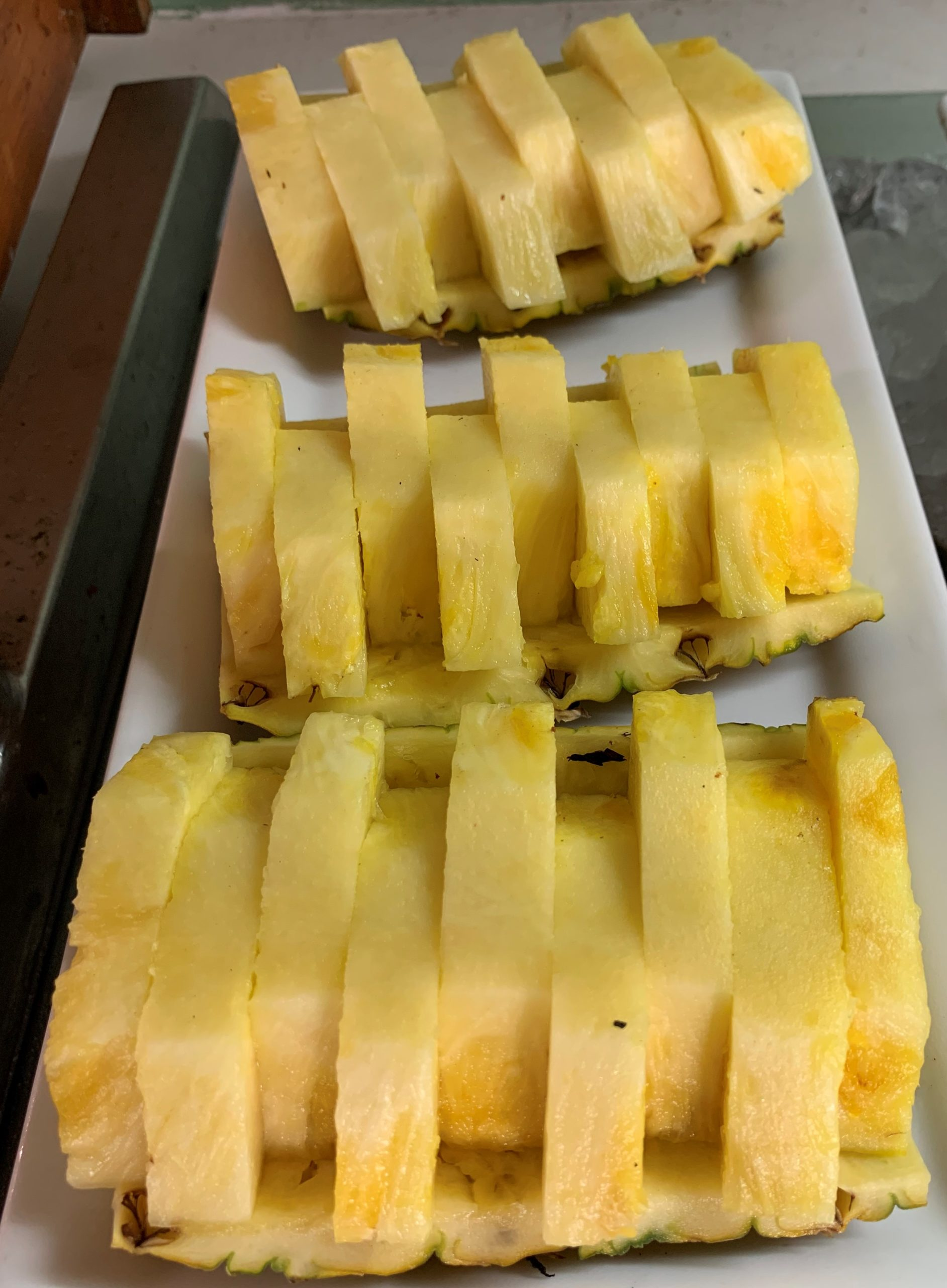 Pineapple cut up sliced Mahekal Beach Resort Playa del Carmen Fruit Photo IMG_0961