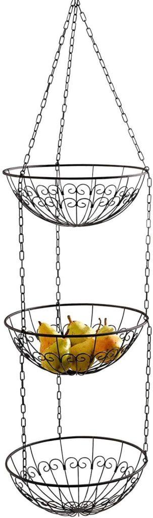 """3-Tier Metal Hanging Basket (3pcs 12""""Dia Fruit Bowls) Vine Pattern - Dark Brown"""