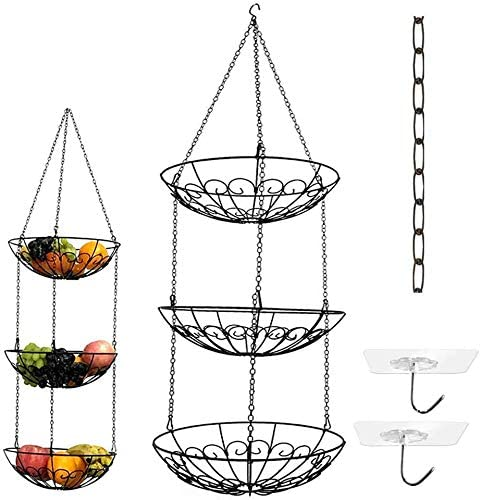 3-Tier Wire Hanging Fruit Basket with Black Chain Extender and Two Free Ceiling Hook - Perfect for Fruit