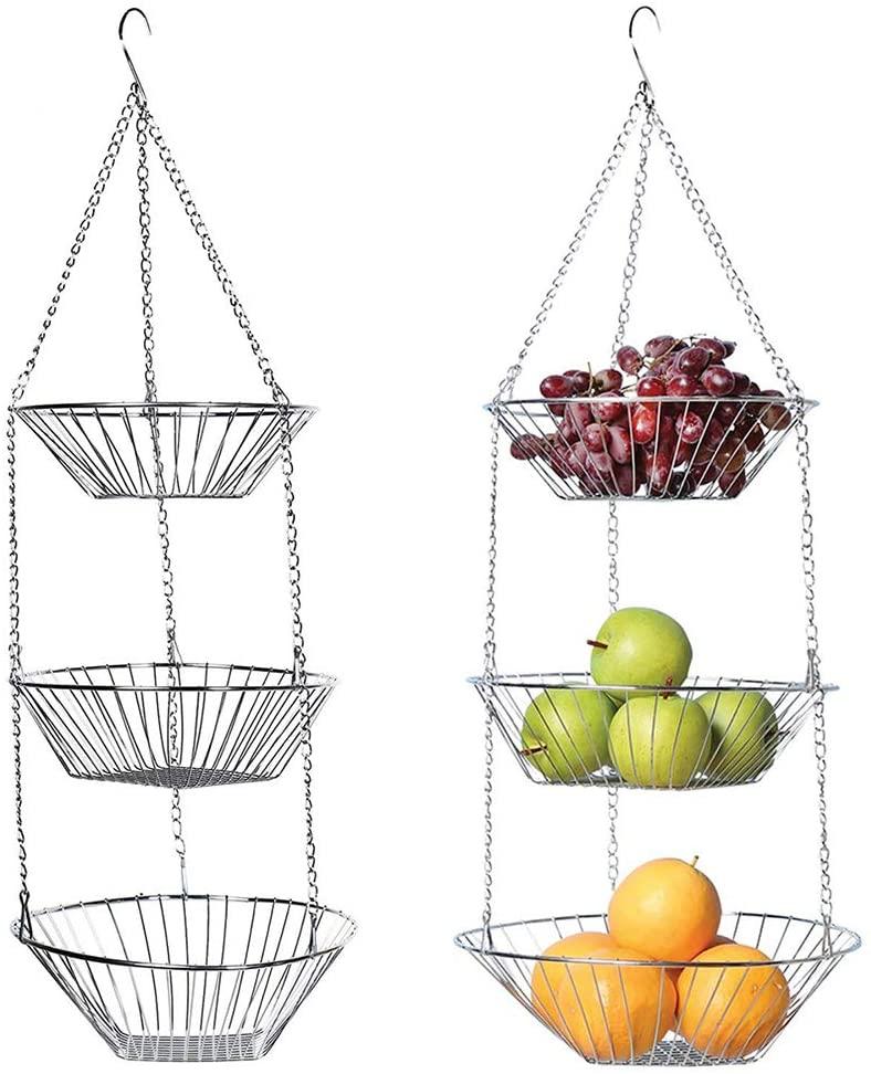 ALLOMN Hanging Basket, Stainless Steel Fruit Basket 3-Layer Hanging Fruit Vegetables Disassemble Storage Basket for Kitchen Bathroom Restaurants