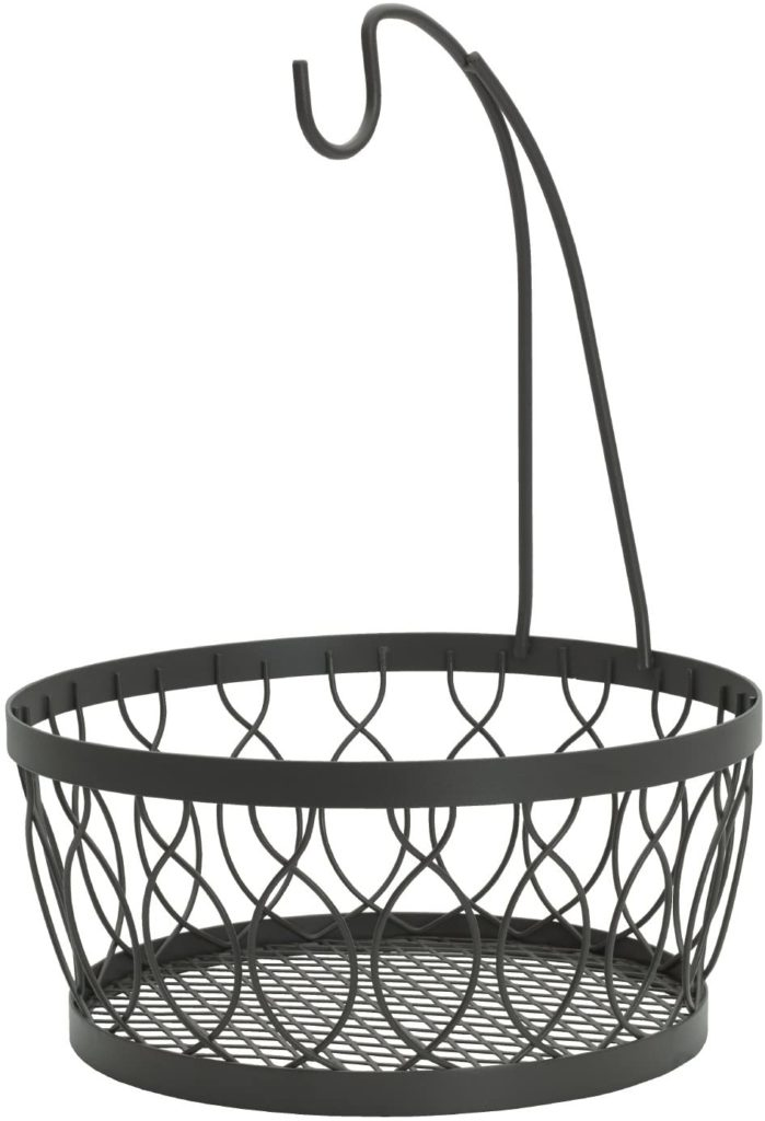 Gourmet Basics by Mikasa 5219478 Rustic Farmstand Metal Fruit Storage Basket with Banana Hook, Vintage Gray
