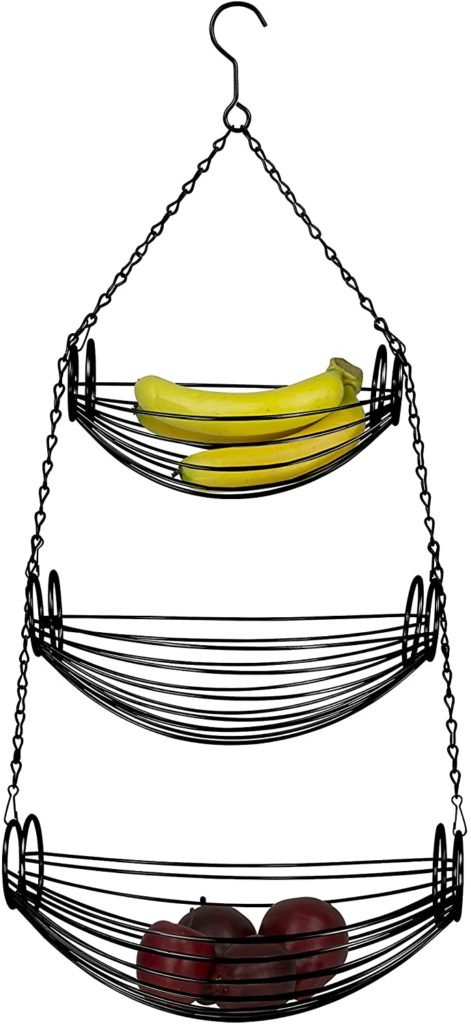 Home Basics 3-Tier Adjustable Chrome Heavy Duty Wire Hanging Fruit or Vegetable Kitchen Storage Baskets