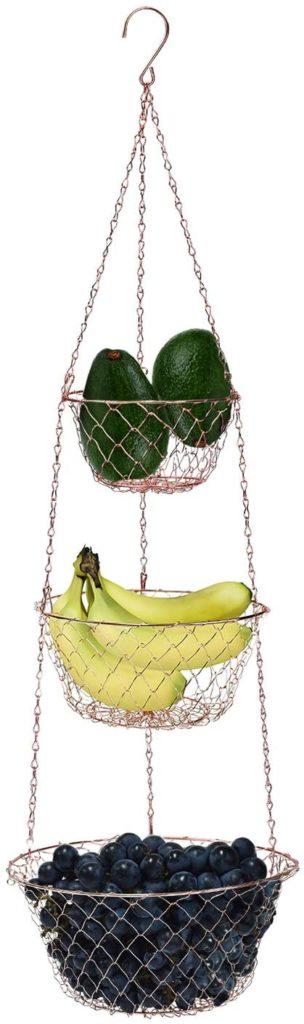 MALMO 3-Tier Wire Fruit Hanging Basket Vegetable Kitchen Storage Basket Copper