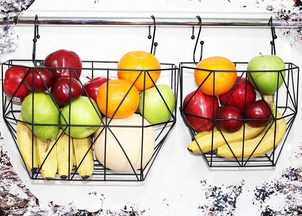 Wire Basket For Storage Metal Fruit Basket with Hooks Screws Wall Storage Metal Basket For Storing Fruits