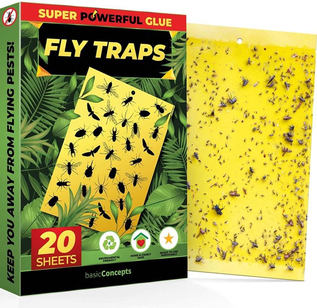 Fruit Fly Trap 20 Pack Double-Sided Yellow Sticky Traps Indoor Outdoor Fruit Fly Traps for Kitchen & Plants Fruit Fly Killer Sticky Gnat Trap Indoor Solution Fungus Gnat Traps
