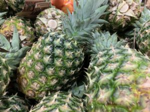 Close up of green pineapples