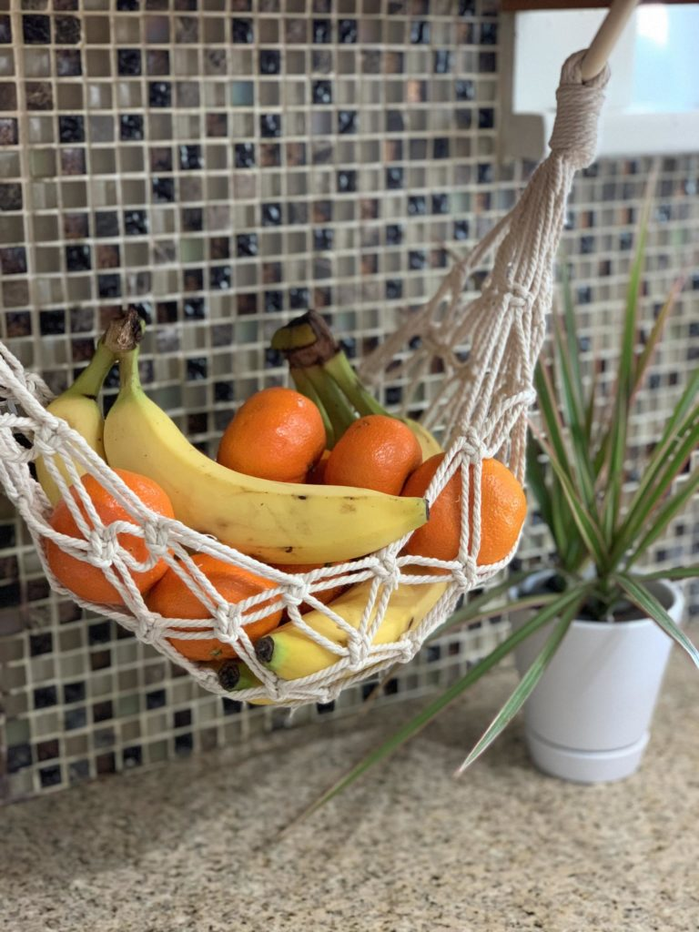 Macrame Fruit hammock for the counter top.